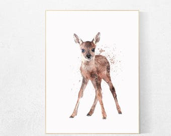 Animal Nursery Decor, Watercolor Baby Deer Nursery, Woodland Animal Art,  Forest Animals Nursery
