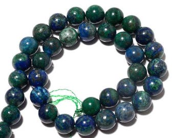 ON SALE 50% Azurite Beads, Lapis Chrysocolla, Natural Azurite Malachite, 10mm Round Beads, 14 Inch Strand, SKU-Bb43