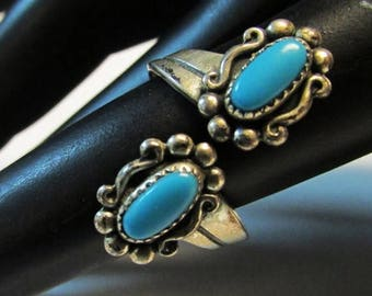 On Sale Vintage Estate Bell Trading Silver Bypass Turquoise Southwestern Ring
