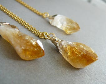 Citrine Necklace Raw cetrine long necklace citrine pendant for Women Gold Plated Citrine Crystal necklace  November birthstone necklace