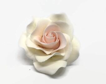 Small White and Blush Pink Rose Sugar Flower Gumpaste Rose for Modern Wedding Cake Toppers, Cake Decor, DIY Weddings