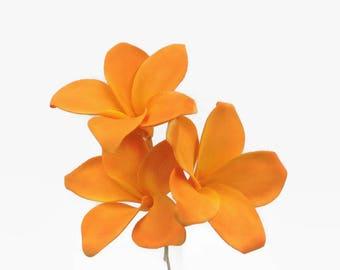 Tropical Orange Plumeria Sugar Flowers