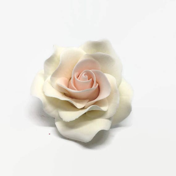 Small White and Blush Pink Rose Sugar Flower Gumpaste Rose for Modern Wedding Cake Toppers, Cake Decor, DIY Weddings