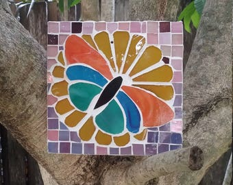 Elegant Glass Mosaic Butterfly Garden Art