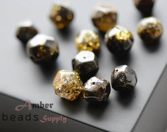Baltic amber beads with holes. Green oval amber beads. Natural amber. 12 pieces. 2413