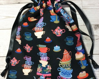 Drawstring project bag - Mad Hatter's Tea Party