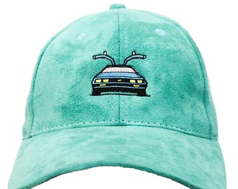 Teal Suede Delorean Back to The Future Dad Hat Baseball Cap