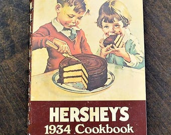 Vintage Cookbook, Vintage 1934 Hershey's Cookbook, Hershey's Chocolate Cookbook, Vintage Recipe Book