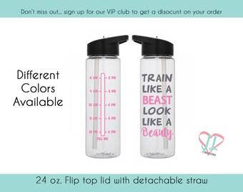 Water Bottle with Times - 24 oz. - Water Bottle - Train like a beast