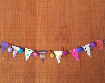 Wool Felt & Paper Garland - Mini Paper Flag and Multicolored Wool Felt Bunting for Party, Office or Baby Shower Decoration