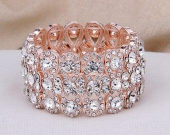 Rose Gold Bridal Bracelet, Rose Gold Bracelet, Rhinestone Wedding Bracelet, Crystal Wedding Bracelet, Wedding Jewelry, Bridesmaid Bracelet