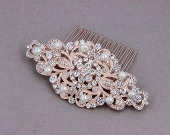 Bridal Hair Comb Rose Gold, Wedding Hair Comb, Wedding Hair Accessories Rose Gold, Art Deco Pearl Bridal Comb, Crystal Bridal Headpieces