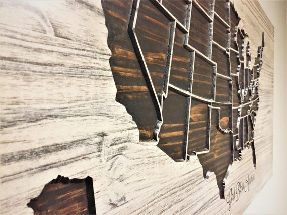 Rustic United States Map Wood Map Wall Art Carved US Map - Us map wall decor
