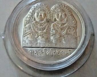 hindu goddess randal maa silver plated temple coin