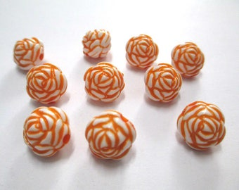 10 pearls flower orange acrylic 13mm