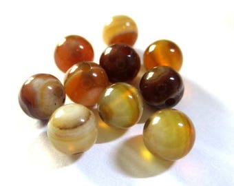 10 striped agate beads 6mm Brown shades