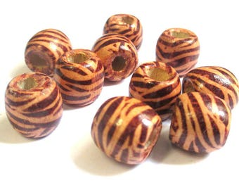 10 wooden beads with Zebra ethnic 17mm