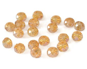 10 yellow Crystal beads iridescent rondelle's faceted 6x8mm