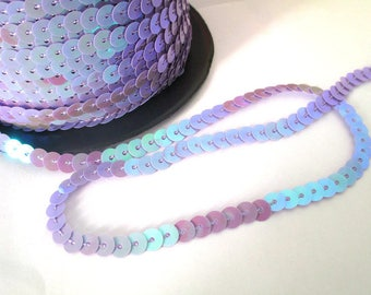 5 m Ribbon 6mm purple sequin trim