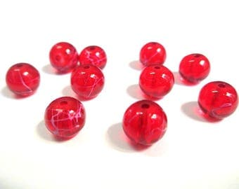 10 red beads drawbench pink translucent 8mm (2)