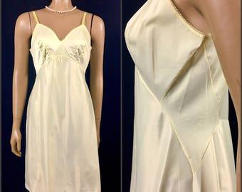 "Vintage 1950s Yellow Slip Dress 36"" Bust Van Raalte Slip Vintage 50s Yellow Full Slip Nightgown Side Panel Antron Nylon Slip USA"