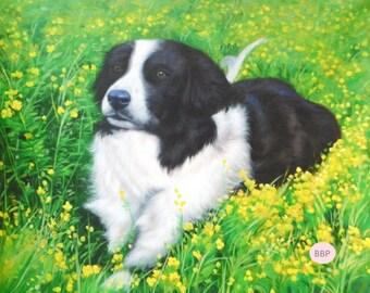 Pet Portrait. Pet Custom Portrait. Dog Custom Oil Portrait. Dog custom painting. Dog custom painting. Oil painting.Commission dog portrait