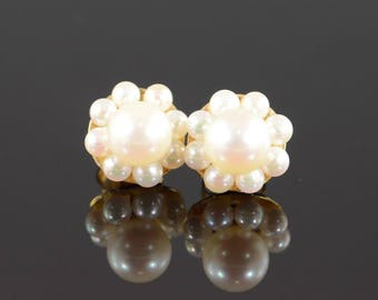 14k 6 mm Pearl Halo Stud Earrings Gold