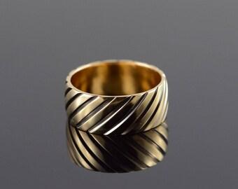 14k 7.5mm Swirl Engraved Wedding Band Ring Gold