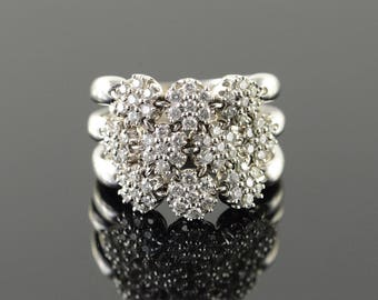 14k 1.00 CTW Diamond Cluster Ring Gold