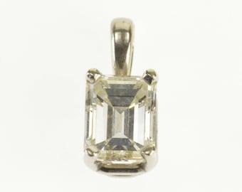 14k 1.01 Ctw Diamond Emerald Cut Prong Set Solitaire Pendant Gold