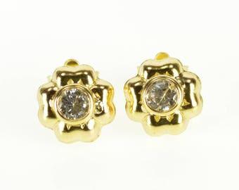 14k Cubic Zirconia High Relief Flower Stud Earrings Gold