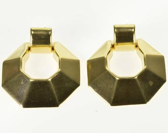 14k High Relief Squared Dangle Door Knocker Style Earrings Gold