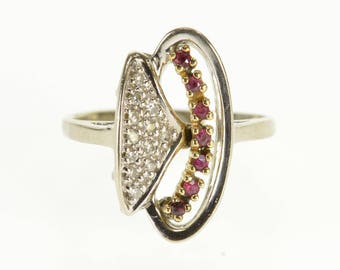 14k Ornate Ruby Diamond Stylized Cluster Statement Ring Gold