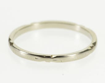 18k Art Deco Grooved Patterned Wedding Band Ring Gold