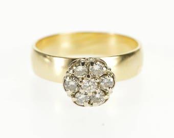 14k 0.50 Ctw Diamond Round Peg Cluster Engagement Ring Gold