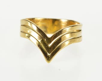 18K Tiered Stacked Design Pointed Chevron Band Ring Size 5.25 Yellow Gold