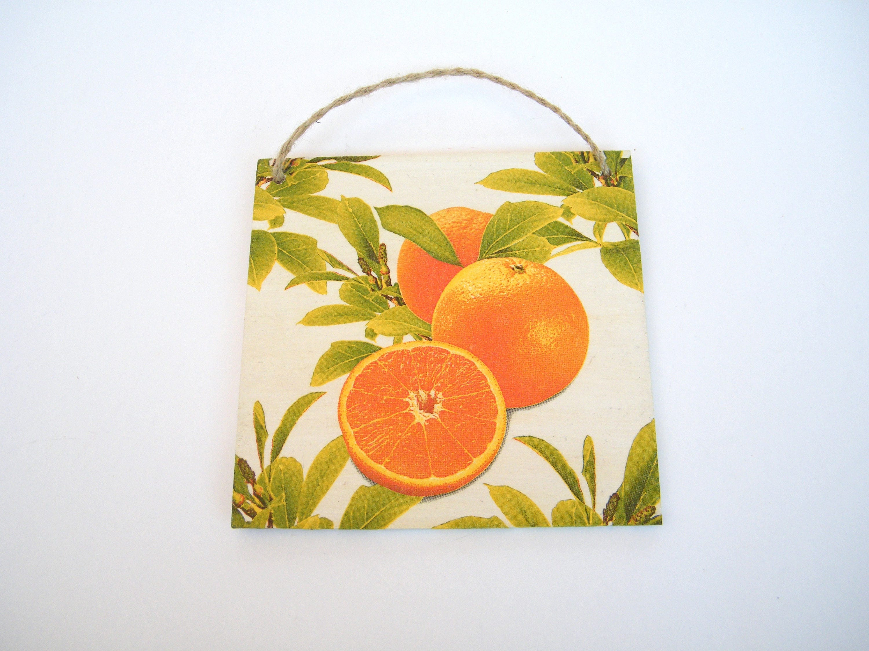 Wooden plaque with orange, kitchen decor, wall decor, fruit lovers ...