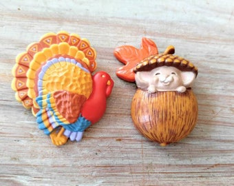 CUTE Vintage Autumn/Fall Pin/Brooch Lot-Turkey and Mouse in Acorn-Signed Hallmark-Thanksgiving, Leaves-All Orders Only 99c Shipping!!