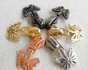 4 BUTTERFLY Zipper Sliders/Pulls for Size 5 Nylon Zippers. 6 Colours. For Nylon Chain/Continuous Zippers. Nickel Free. Long W/ Cutouts. Aus