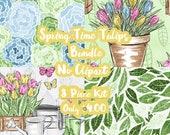 Spring Time Tulips Mystery Bundle 8 Sheets Planner Sticker-Erin Condren Sticker-Happy Planner Stickers-Floral Stickers