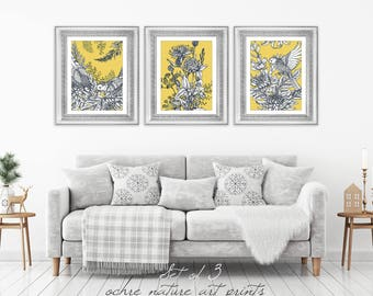 Set Of 3 Mustard Yellow Decor, Yellow Wall Art, Yellow Grey Wall Art,