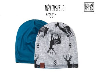 Fall  reversible slouchy beanie- Deer/Blue