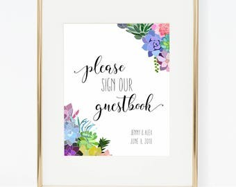 Printable Personalized Succulent Wedding Guestbook Poster