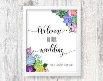 Printable Personalized Succulent Wedding Welcome Poster