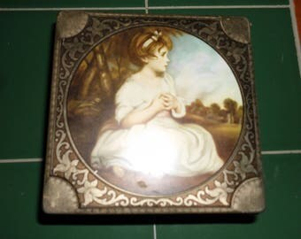 Vintage English Toffee Hinged Metal Tin Box Little Girl in Pastoral Scene Nice Condition