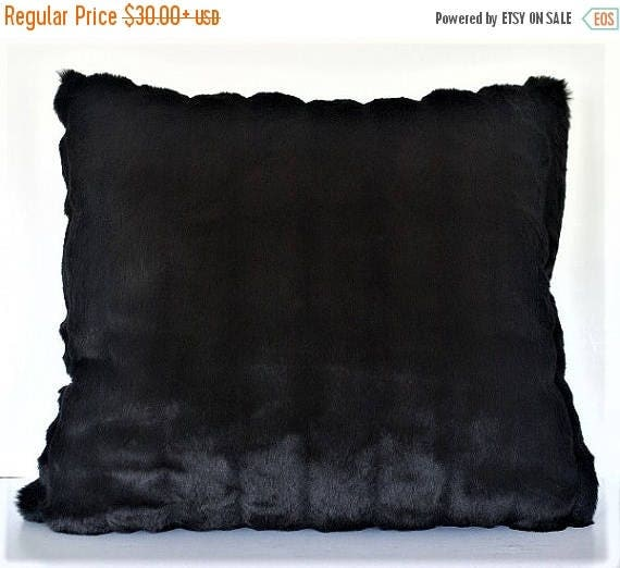 Black White Tan Throw Pillows : SALE large faux mink throw pillow black white tan made in usa