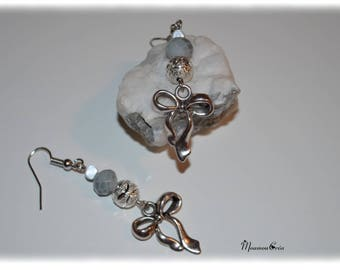 Gray and Silver Bow earrings