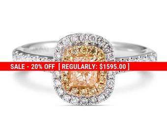 20% SALE Yellow diamond ring, Engagement Ring, Radiant cut, fancy yellow diamond, Diamond Ring, promise ring, custom made ring