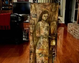 12 x 36 techniques mixtes peinture abstraite de la série, «Artefacts», (#2)