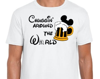 Chuggin' around the world - Epcot food and wine festival shirt - Unisex Men/Womens or Women's Racerback Tank
